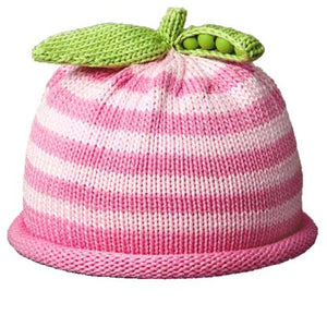 Pea Pod Baby Hat- pink stripe