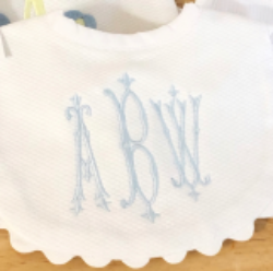 Pique Baby Bib with Ric Rac Trim (mult colors)