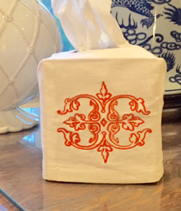 Monogrammed Tissue Box Cover