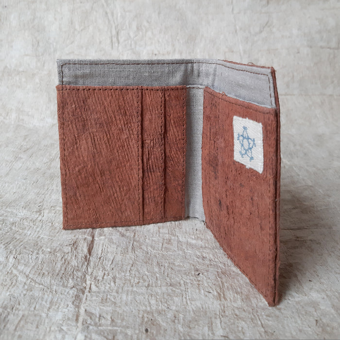 Cinta Bumi - Barkcloth Wallet (Small) - LAPIS Coral Brown