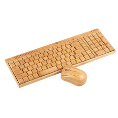 wooden keyboard mouse
