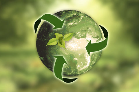 Earth with recycle logo