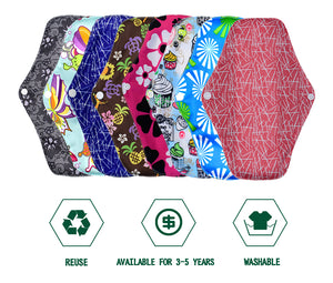 5 Piece Washable Menstrual Sanitary Pads made of Bamboo and Charcoal