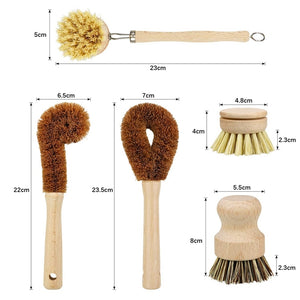 Plant Based Cleaning Brush Set, 6 Piece for Vegetable, and Kitchen Dish Cleaning, Zero Waste & Biodegradable Kitchen Brushes