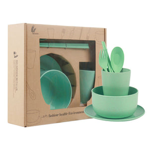 6 Piece Set Baby Food Wheat Straw Eco-Friendly Tableware
