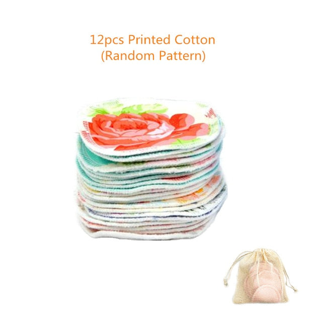 Reusable Cotton Pads Zero Waste 12 Pack Cotton Rounds Makeup Remover Cloth Washable Cleansing Wipes Eco-friendly Bamboo Pads