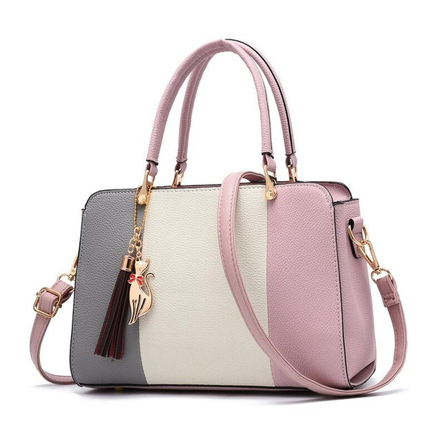 Color Block Tote Handbag