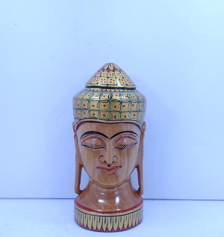Wooden Buddha Head Painted