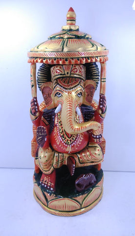 Wooden Ganesh Chattar Painted