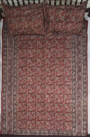 Kalamkari Single BedSheet W/Pillow Covers