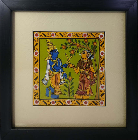 Cheriyal Painting Radha Krishna With Unbreakable Acrylic Glass