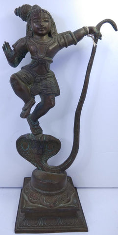 Bronze Kalinga Krishna 10Inch Antique