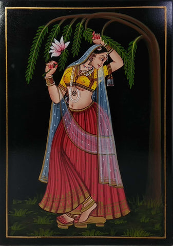 Nirmal Painting Lady W/Flower 8x11
