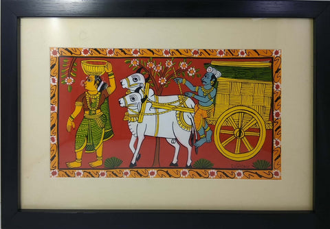 Cheriyal Painting Bullock Cart With Lady (Unbreakable Acrylic Glass)