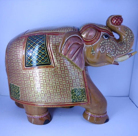 Wooden Elephant Salamander Carving Painted
