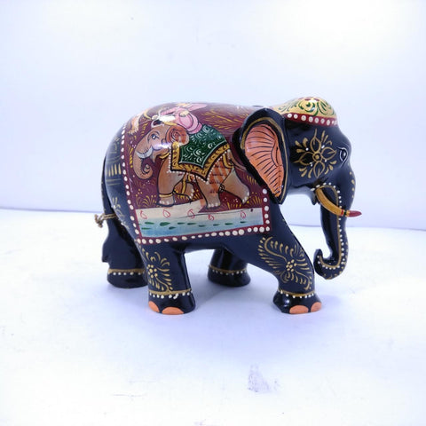 Wooden Elephant Shikar Painted