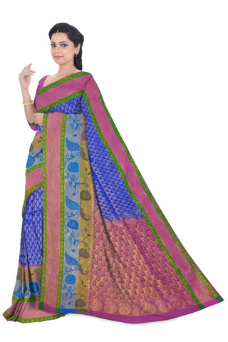 Gadwal Pure Silk Buta Big Border Saree W/B
