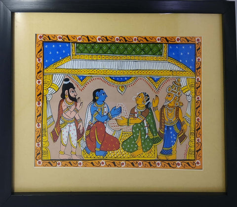 Cheriyal Painting Rama Seeta Kalyanam With Unbreakable Acrylic Glass