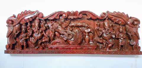 Wooden Sleeping Ganesh Pannel