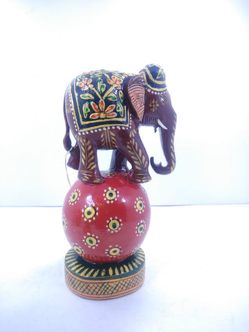 Wooden Elephant Ball Painted