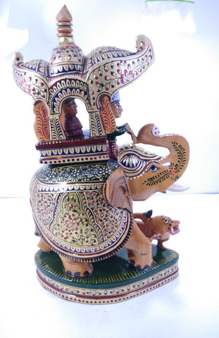 Wooden Elephant Ambari Painted