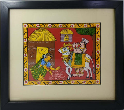 Cheriyal Painting Sankranthi Set With Gangireddu (Unbreakable Acrylic Glass)