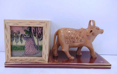 Wooden Pen Stand W/Cow