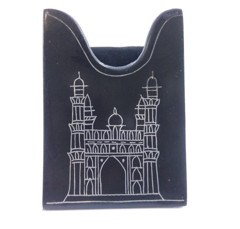 Bidri  Card Holder Rectagular with Charminar