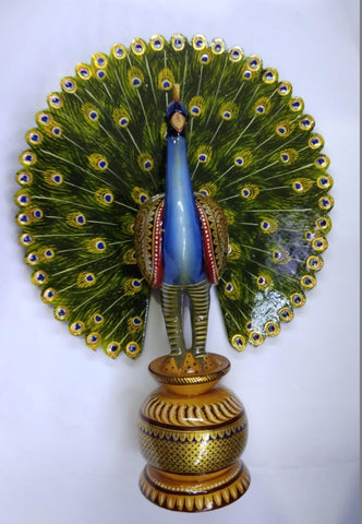 Wooden Dancing Peacock Painted