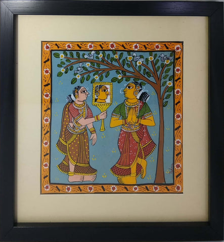 Cheriyal Painting Mirror Lady With Unbreakable Acrylic Glass