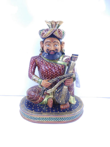 Wooden Raj Musician Sitting Painted