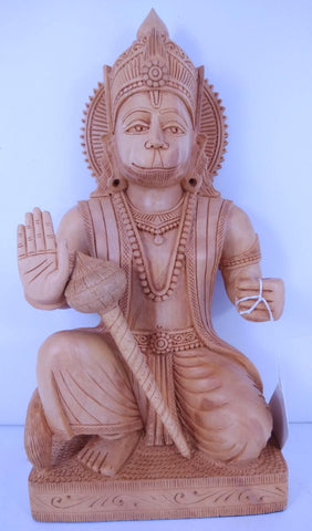 Wooden Hanuman Sitting Spl 8In