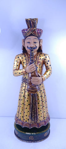 Wooden Musician Standing Painted