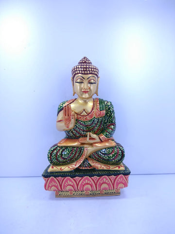 Wooden Buddha Sit Painted