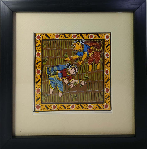 Cheriyal Painting Farming Ladies With unbreakable Acrylic Glass