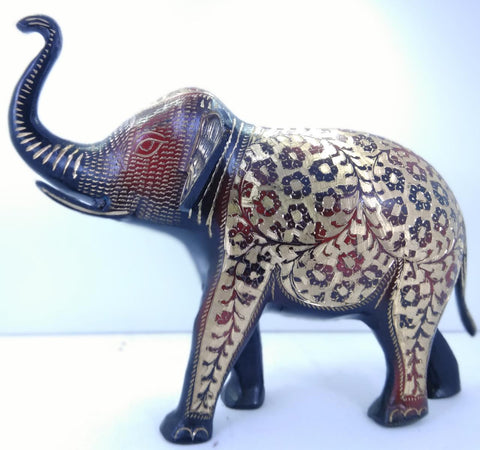 Brass Elephant Enamel Paint With Etching Work
