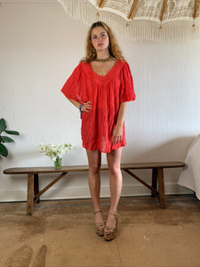 Greek Cotton Top with Crochet neckline in coral