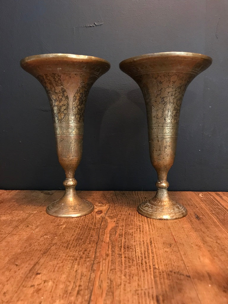 Neat Pair of Arabic Brass Vases, 1970s