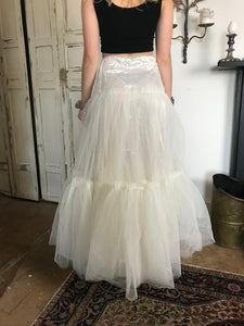 White Tulle 1980s Layered Net Petticoat Skirt
