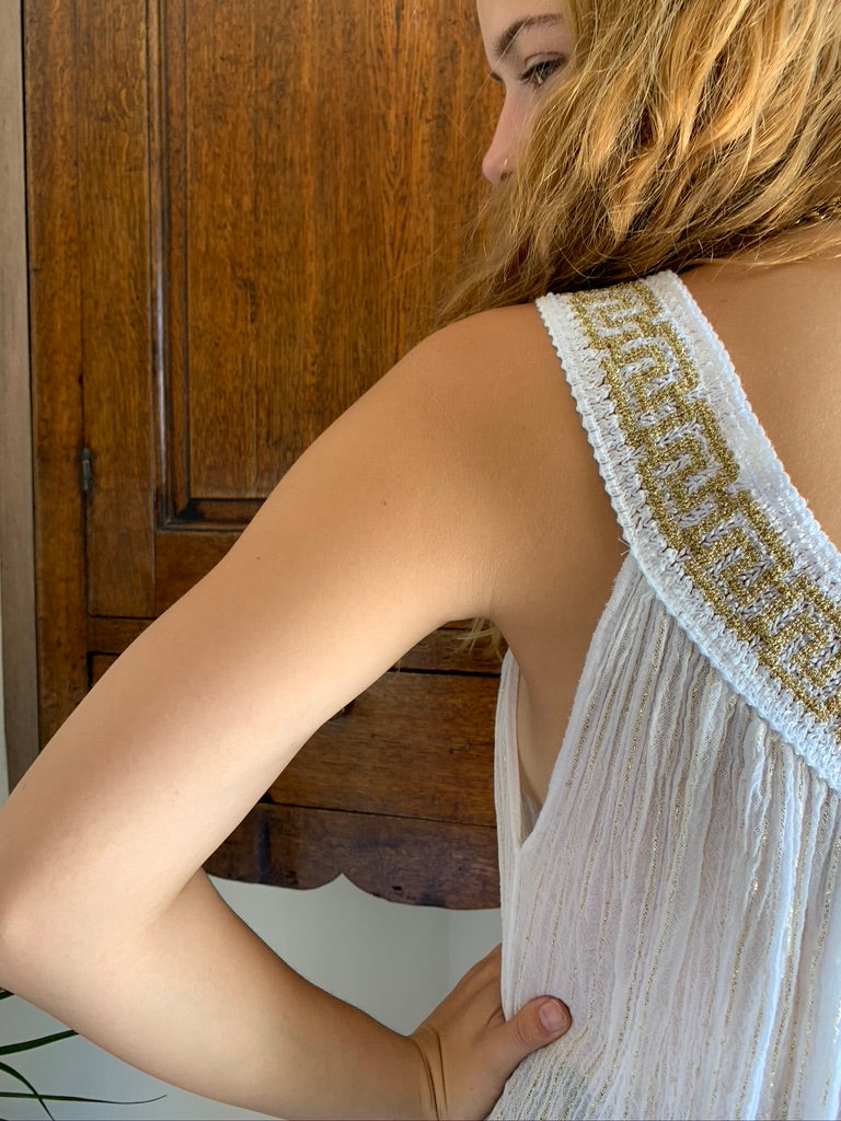 Greek cotton long dress with crochet detail neckline, white with gold details