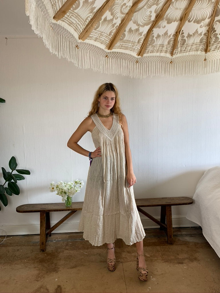 Greek Cotton Maxi Dress, crochet detail neckline, sand colour