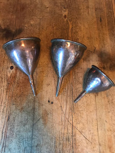 Set of three Victorian Copper Funnels, Decorative Kitchenalia
