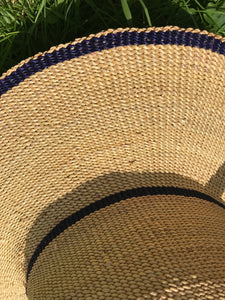 Handwoven straw hat from Ghana, natural grass and navy stripes