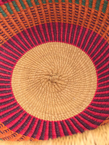 Bolgatanga Shopper Basket, red and purple stripe weave, extra large size
