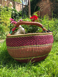 Bolgatanga Shopper Basket, orange and purple stripe weave, extra large size