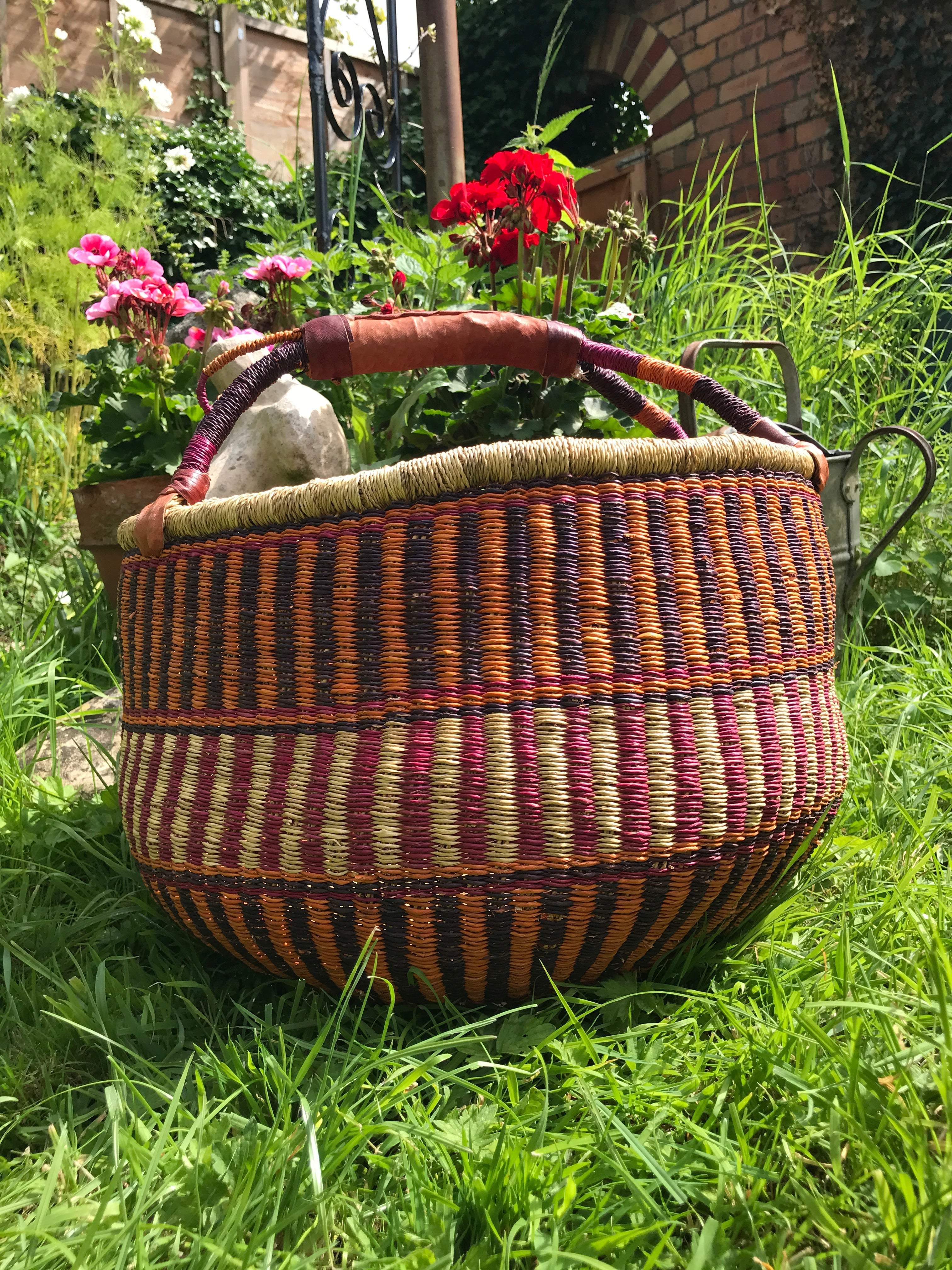 Bolgatanga Basket of Joy, pinks and orange pattern, large size