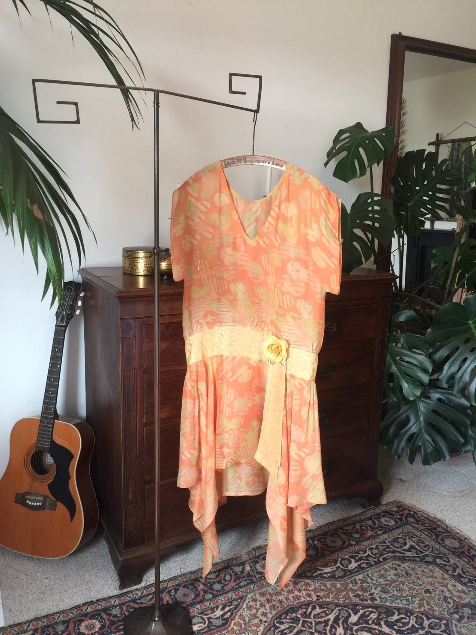 Vintage 1920s Silk Chiffon Summer Dress,  Apricot Floral Print