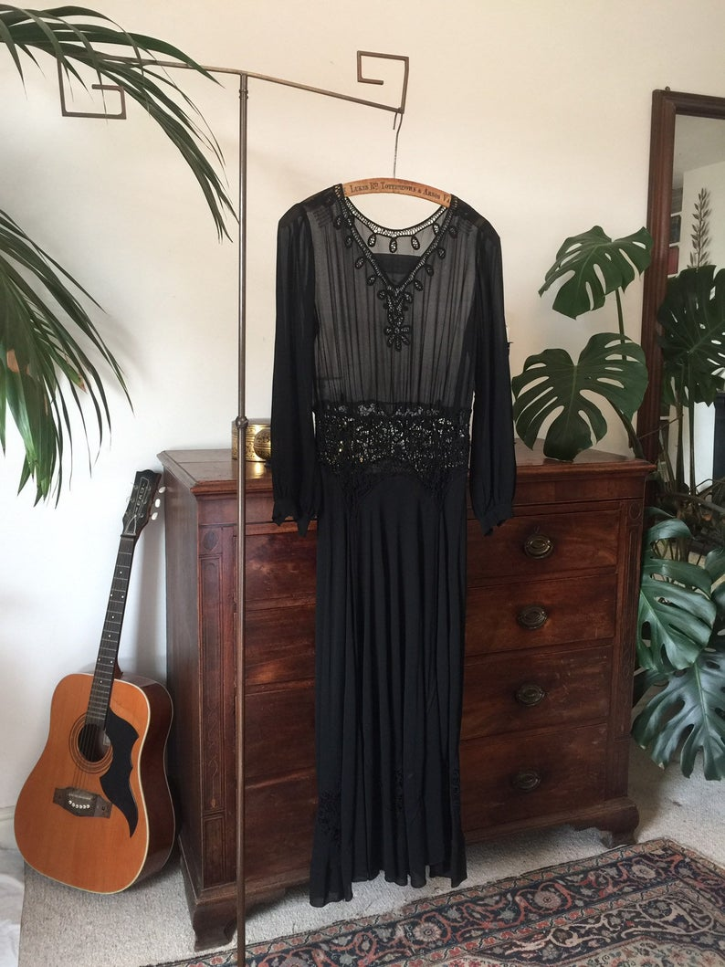 Vintage 1930s Chiffon Ribbon Work Dress with Curved godets