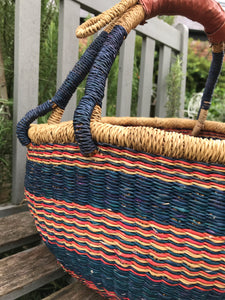 Bolgatanga Basket of Joy, navy and reds pattern, large size