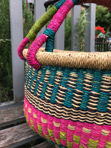 Bolgatanga Basket of Joy, pink and green pattern, large size
